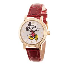 Disney Mickey Mouse Men's Gold Vintage Watch with Red Leather Strap