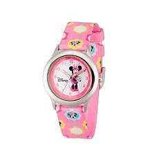 Disney Minnie Mouse Kid's Time-Teacher Watch with Printed Pink Strap