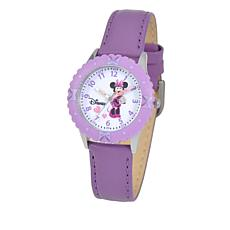 Disney Minnie Mouse Kid's Time-Teacher Watch w/Rotating Bezel - Purple