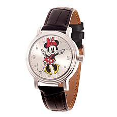 Disney Minnie Mouse Women's Shiny Silver Watch w/ Black Leather Strap