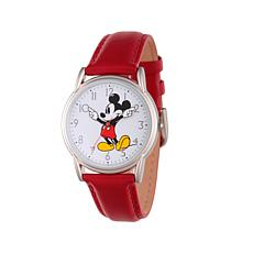 Disney Silvertone Mickey Mouse Red Leather Strap Watch