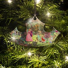 Disney Thomas Kinkade Sleeping Beauty Crown-Shaped Hanging Acrylic