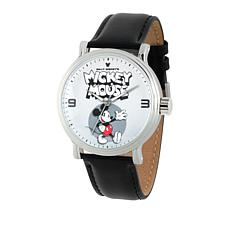 Disney Vintage Mickey Mouse Silvertone Black Leather Strap Watch