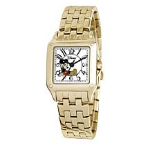 Disney Women's Mickey Mouse Goldtone Square Dial Bracelet Watch