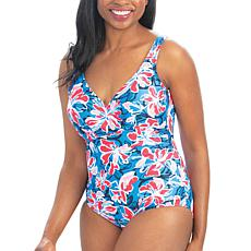 Dolfin Aquashape Wildflowers-Print Ruched One-Piece Swimsuit