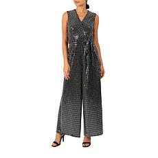 Donna Ricco Black Sequined Sleeveless Wrap Jumpsuit