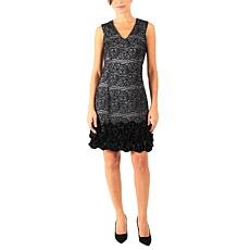 Donna Ricco Bonded Lace Cocktail Dress with Ruffle Hem