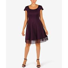 Donna Ricco Cap Sleeve Scuba Dress with Lace Trim