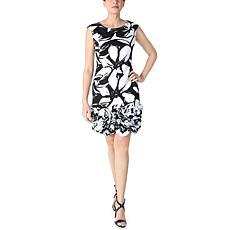 Donna Ricco Extended Sleeve Ruffle Hem Dress