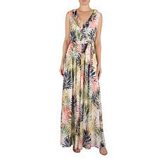 Donna Ricco Faux Wrap Chiffon Maxi Dress