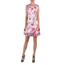 Donna Ricco Sleeveless Cupcake Hem Dress - Pink Floral