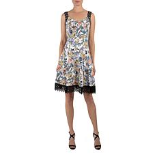 Donna Ricco Sleeveless Sweetheart Fit and Flare Lace Trim Dress