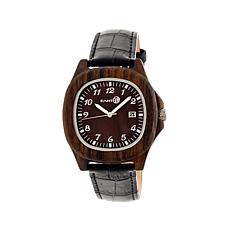 Earth Wood Sherwood Square Case Leather Strap Watch