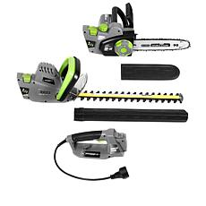 EARTHWISE 2-in-1 Corded Electric 120-Volt Chainsaw/Hedge Trimmer