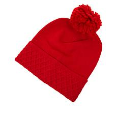 Echo Diamond Knit Cuff Pom Pom Hat