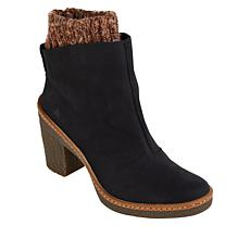 El Naturalista Haya Pleasant Leather Knit Cuff Heeled Bootie