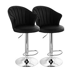 Elama 2-Piece Shell Back Faux Leather Bar Stool in Black with Base