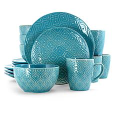 Elama Aqua Lilly 16 Piece Round Stoneware Dinnerware Set in Aqua