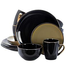 Elama Cambridge Grand 16-piece Dinnerware Set - Black and Warm Taupe