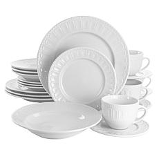 Elama Charlotte 20-Pc Porcelain Dinnerware Set in White