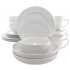 Elama Elle 18 Piece Porcelain Dinnerware Set with 2 Large Serving B...