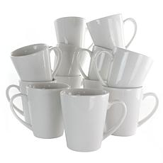 Elama Holt 12 Piece 10 Ounce Porcelain Mug Set in White