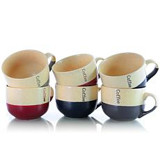 Elama Latte Loft 6-Piece 18 oz. Mug Set - Assorted Colors