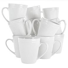 Elama Madeline 12-Piece Porcelain Mug Set in White