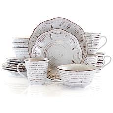 Elama Rustic Birch 16 Piece Stoneware Round Dinnerware Set