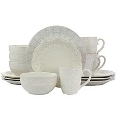 Elama White Lace 16 Piece Round Scallop Stoneware Dinnerware Set in...