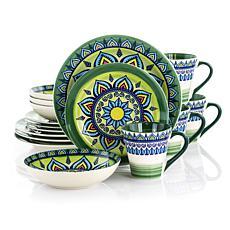 Elama Zen Green  Mozaik 16-piece Stoneware Dinnerware Set