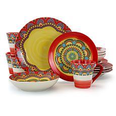 Elama Zen Red Mozaik 16-piece Stoneware Dinnerware Set