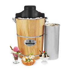 Elite Gourmet 6-Qt. Old Fashioned Pine Bucket Electric Ice Cream Maker