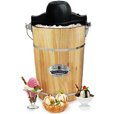 Elite Gourmet 6-qt. Old Fashioned Pine Electric/Manual Ice Cream Ma...