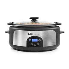 Elite Platinum 6-Quart Stainless Steel Slow Cooker with Locking Lid