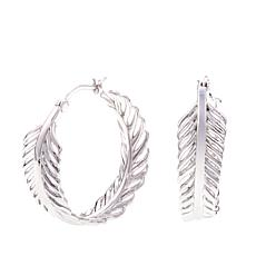 "ELLE ""Plume"" Feather Design Sterling Silver Hoop Earrings"