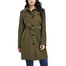 Ellen Tracy Cocoon Single Breasted Trench Coat