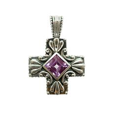 Elyse Ryan Sterling Silver Amethyst Cross Enhancer Pendant