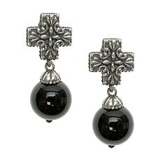 Elyse Ryan Sterling Silver Black Onyx Bead and Cross Earrings
