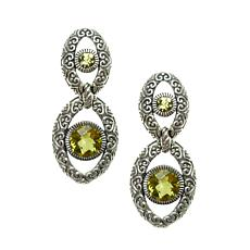 Elyse Ryan Sterling Silver Olive Quartz Drop Earrings