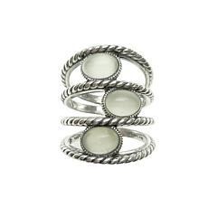 Elyse Ryan Sterling Silver Oval Moonstone Negative Space Ring