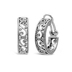 Elyse Ryan Sterling Silver Scroll Openwork Hoop Earrings