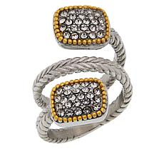 Emma Skye Stainless Steel Crystal-Accented 2-Tone Bypass Ring