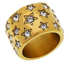 Emma Skye Stainless Steel Crystal Star-Studded Wide Band Ring