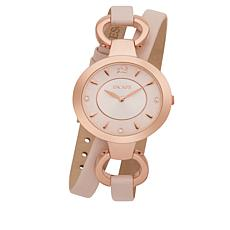 "ESCAPE Women's ""Soho"" Rosetone Pink Leather Wrap Watch"