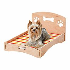 Etna Wooden Bone and Paw Dog/Cat Sofa or Bed with Removable Cover