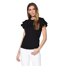 Eva Longoria Jersey Top with Ruffle