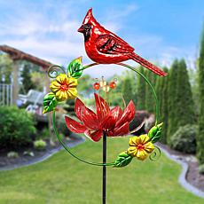Exhart Bird and Lotus Flower Spinner Garden Stake