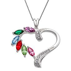 "Family Birthstone and Clear Crystal Heart Pendant with 18"" Chain"