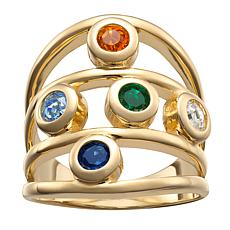 Family Crystal Birthstone Goldtone Negative-Space Ring - 5 Stones